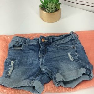 Justice Girl's Rolled Hem Distressed Shorts